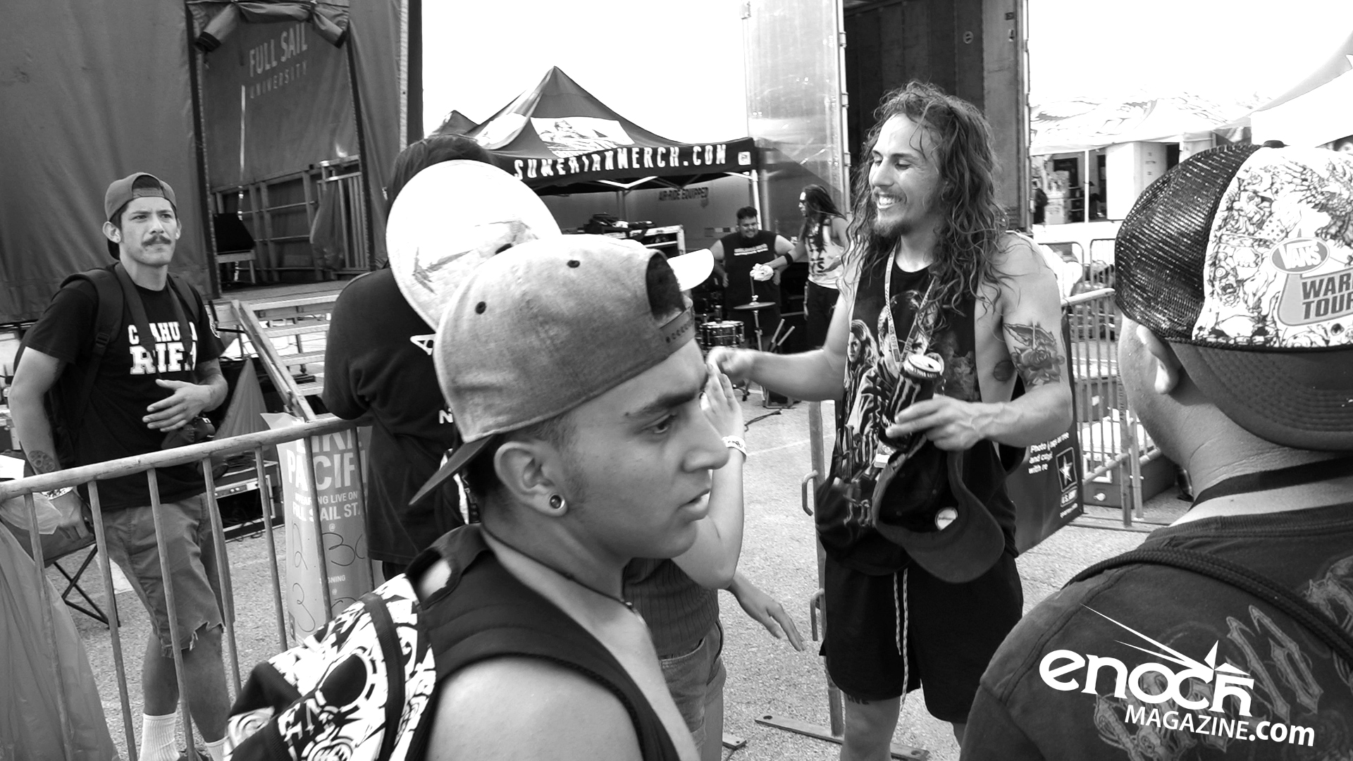 Silent Planet singer backstage with fans after show 2016 Vans Warped Tour in Houston, TX